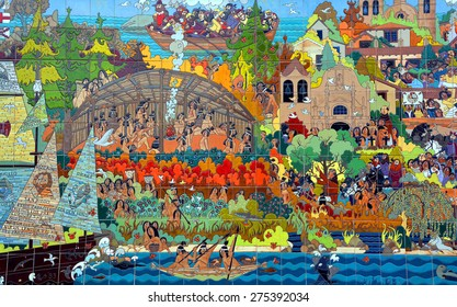 MONTEREY CA USA 04 12 2015: Mural is a festive 36-foot ceramic tile mural by the contemporary artist Guillermo Bill Granizo. The mural was installed in 1984 and depicts events from California history.