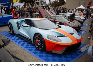 Monterey, CA / USA - August 25 2018: Monterey Carweek hosts Exotics on Cannery Row. A host of supercars and classic cars line the streets for public viewing