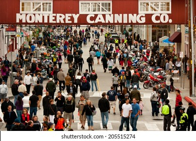 MONTEREY, CALIFORNIA - JULY 12, 2014: Crowds gather for a motorcycle rally on Cannery Row, Monterey.