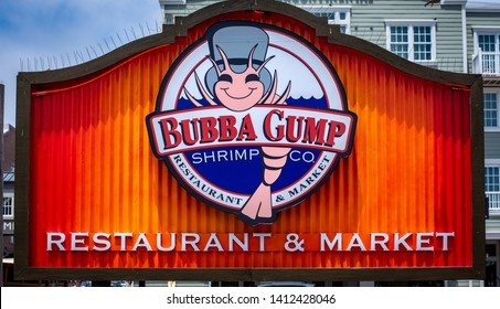 Monterey, California - May 29, 2019:  Bubba Gump Shrimp Company is a popular oceanfront seafood restaurant on Cannery Row that specializes in shrimp.
