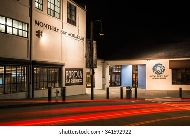 MONTEREY, CALIFORNIA, UNITED STATES â?? November 11, 2015: The Monterey Bay Aquarium, illuminated at night.