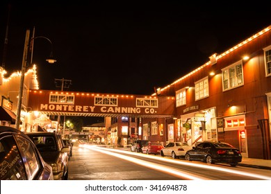 MONTEREY, CALIFORNIA, UNITED STATES, November 11, 2015: Cannery Row comes alive at night on a November evening.