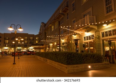 MONTEREY, CALIFORNIA, UNITED STATES, November 21, 2015: A night time scene of the Intercontinental Clement Hotel on Cannery Row