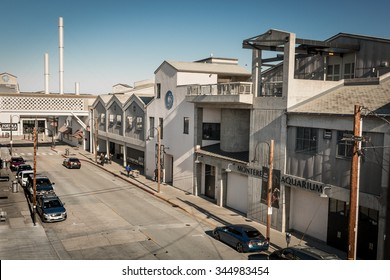 MONTEREY, CALIFORNIA, UNITED STATEs, November 29, 2015: A high angle view of the Monterey Bay Aquarium on Cannery Row, Monterey.