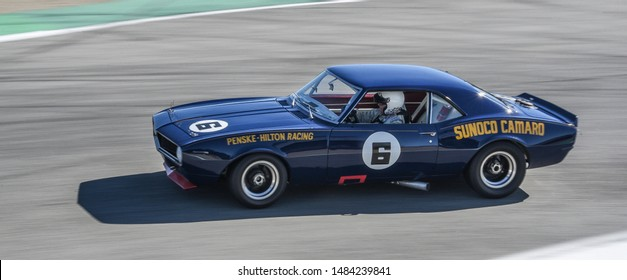 Monterey, California, USA - August 16, 2019: The 1968 Chevrolet Sunoco Camaro, owned by Roger Penske and driven by Mark Donahue, in the Rolex Monterey Motorsports Reunion at Laguna Seca Raceway.