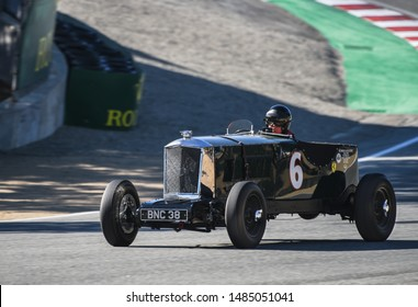 Monterey, California, USA - August 16, 2019: A rare 1935 Railton LST race car on-track in the Rolex Monterey Motorsports Reunion at the WeatherTech Laguna Seca Raceway.