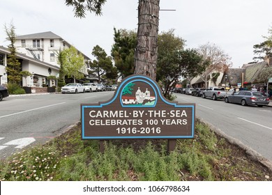 Monterey, California, USA - March 31, 2018: Sign of Carmel by the sea.  Carmel is a city in Monterey County, California, founded in 1902 and incorporated on October 31, 1916.