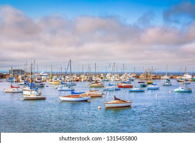 MONTEREY, CA/USA - AUGUST 7, 2014: Historic Monterey Harbor and Marina at dusk.