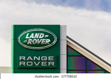 MONTEREY, CA/USA - FEBRUARY 17, 2014: Range Rover automobile dealership sign. Range Rover is a brand of Jaguar, a British multinational car manufacturer headquartered in Whitley, Coventry, England,