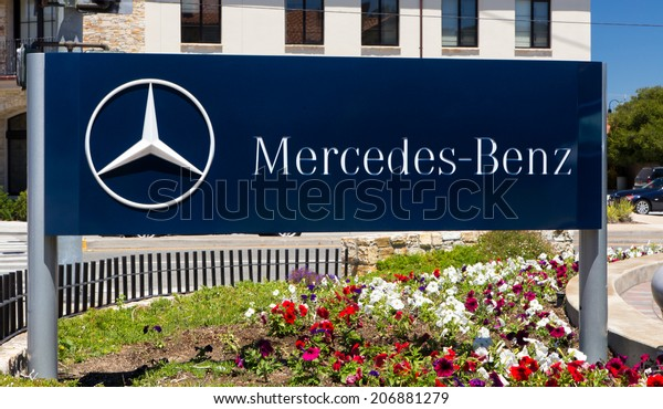 MONTEREY, CA/USA - JULY 23, 2014: Mercedes-Benz automobile dealership.  Mercedes is a German automobile manufacturer, a multinational division of the German manufacturer Daimler AG.