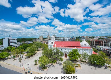 Monteria, Cordoba, Colombia. March 5, 2015: Panoramic Colonial Cathedral of San Jeronimo.