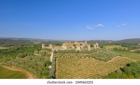 Monteriggioni, Tuscany. Awrial panoramic view of city and countryside.