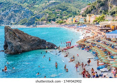 Monterosso al Mare, Italy - JULY 16, 2019: Monterosso al Mare is one of the five villages in Cinque Terre in Italy.