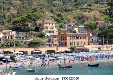 MONTEROSSO AL MARE, ITALY-AUG. 16, 2017: One of the five holiday destinations in Italy's Cinque Terre National Park, it has one of the largest sandy beaches.