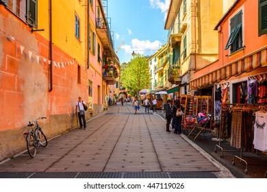 MONTEROSSO, ITALY - MAY 5, 2016: Restaurants of Monterosso al Mare, a small town in province of La Spezia, Liguria, Italy. It's one of the lands of Cinque Terre, UNESCO World Heritage Site