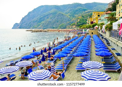 Monterosso, Italy - September 8, 2016 : View of the seaside of Monterosso village in summer in the Cinque Terre area, Italy on September 8, 2016. It is one of the five villages in Cinque Terre.