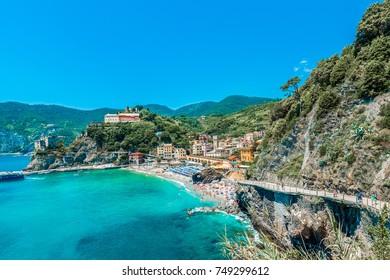 MONTEROSSO, IT - JUNE 26, 2016: Monterosso village within Cinque Terre in Liguria Region, Northern Italy.