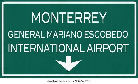 Monterrey Mexico International Airport Highway Sign 2D Illustration