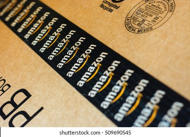 Amazon box images stock photos vectors shutterstock monterrey mexico nov 3 2016 amazon standard shipping box amazon logotype reheart Images