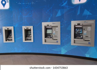 MONTERREY, MEXICO - OCTOBER 2, 2016: Various ATMs in a shopping mall in Monterrey.