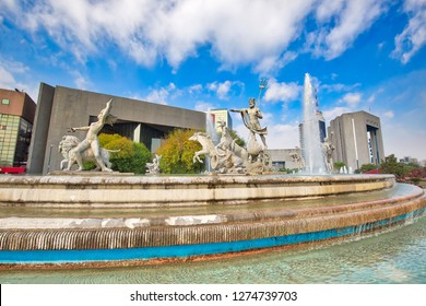 Monterrey, Mexico-11 December, 2018: Monterrey, Macroplaza, Landmark Neptune Fountain, also known as Fountain of Life (Fuente de la vida)