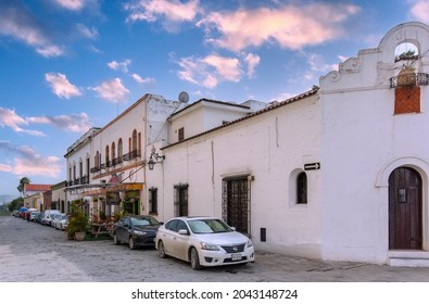 Monterrey, Mexico-9 August, 2021: Colorful historic buildings in the center of the old city (Barrio Antiguo) at a peak tourist season