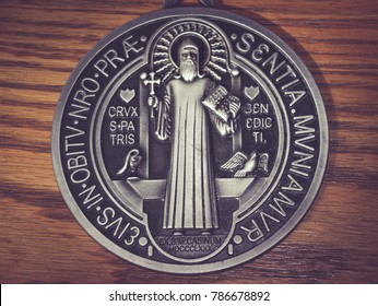 MONTERREY, NL / MEXICO - 09 20 2017 : Photograph of the traditional Saint Benedict religious medall