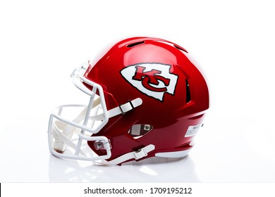 MONTERREY, NL, MEXICO - 20 APRIL  2020 - Helmet of the chiefs of Kansas City, current champion of the Super Bowl LIV on white background.