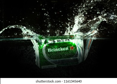 MONTERREY, NL, MEXICO - Ago 21, 2018. Heineken Lager Beer (Dutch: Heineken), or simply Heineken, is a pale lager beer with 5% alcohol by volume produced by the Dutch brewing company Heineken.