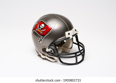 MONTERREY, NL, MEXICO - JANUARY 30, 2021 - Tampa Bay Buccaneers helmet in Super Bowl LV, on white background.