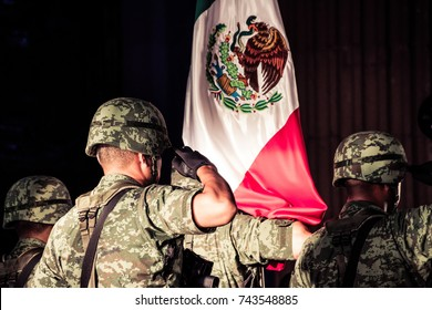 MONTERREY, NUEVO LEON / MEXICO - 09 15 2017: Mexican soldiers at mexican independence celebration at municipal palace in Monterrey Mexico