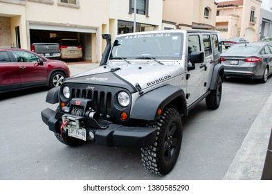Monterrey Nuevo Leon, Mexico. April 23, 2013.  Jeep rubicon outside of the house garage.