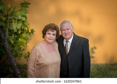 Monterrey Nuevo Leon, Mexico. January 18, 2020.  Elderly couple portrait for their 50th wedding anniversary. Exterior.