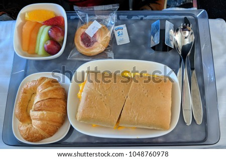 Monterrey, Nuevo Leon, Mexico - March, 9, 2018: Food in first class on Delta Flight from Monterrey, Nuevo Leon to Altanta, Georgia.