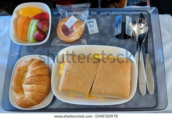 Monterrey, Nuevo Leon, Mexico - March, 9, 2018: Food in first class on Delta Flight from Monterrey, Nuevo Leon to Altanta, Georgia.