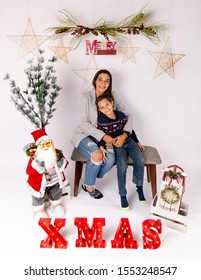 Monterrey Nuevo Leon, Mexico. November 2, 2019.  Mother and son christmas portrait. Family love.