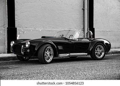 Monterrey, Nuevo Leon, Mexico,20'Feb'2018,  Classic Ford Shelby Cobra black color, vintage roadster racing car