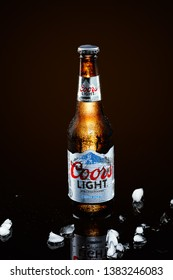MONTERREY,MEXICO - APRIL 28, 2019 : Bottle of Coors Light beer on blackbackground. Coors operates a brewery in Golden, Colorado, that is the largest single brewery facility in the world.