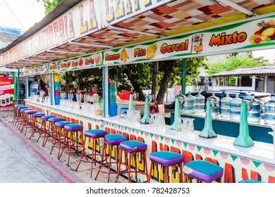 MONTERRICO, GUATEMALA - MARCH 29, 2016: Juice bar in Monterrico village.