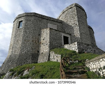 Montesarchio, Benevento, Campania, Italy - February 22, 2018: The medieval tower that dominates the historic center of the town