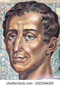 Montesquieu portrait from French money