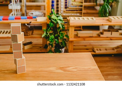 Montessori classroom material for learning children in the area of ​​mathematics, addition, subtraction and counting up to thousands