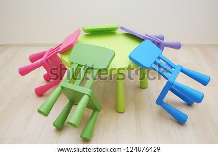 Montessori Kindergarten Preschool Classroom Table Chairs Stock Photo