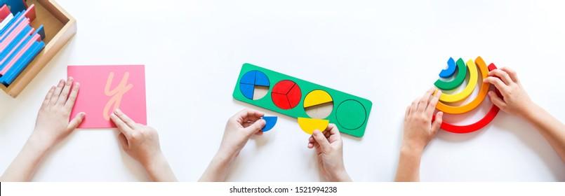 Montessori-Material. Die Hände der Kinder. Das Studium der Mathematik und Biologie. Schule und Kindergarten. Benner
