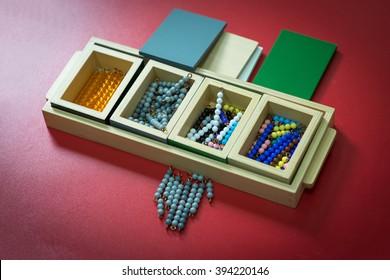 Montessori material , colored beads