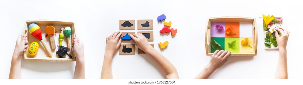 Montessori material flat lay. Banner Children hand. Home remote schooling Wooden tray on a white background.