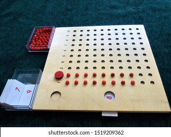Montessori material for multiplication. Multiplication board