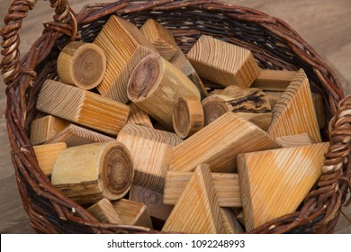 Montessori Waldorf building blocks made of wood in a basket