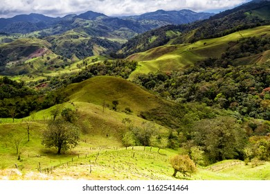 Monteverde, Santa Elena and Arenal area in Costa Rica highlands. Panoramic view in sunny day of a vast hills and mountains in this pristine region of Central America