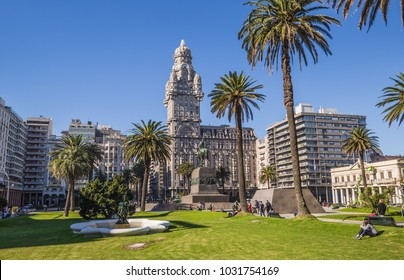 Montevideo - July 02, 2017: Palacio Salvo in the center of the city of Montevideo, Uruguay